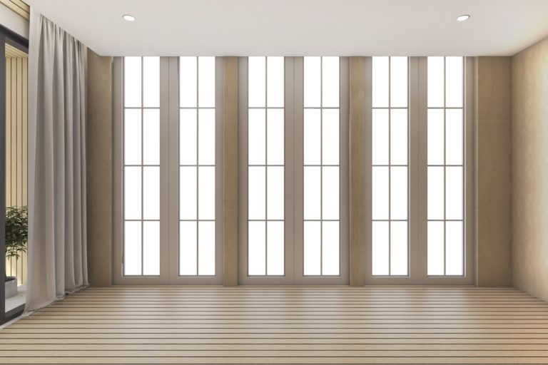 3d rendering empty room with daylight from window